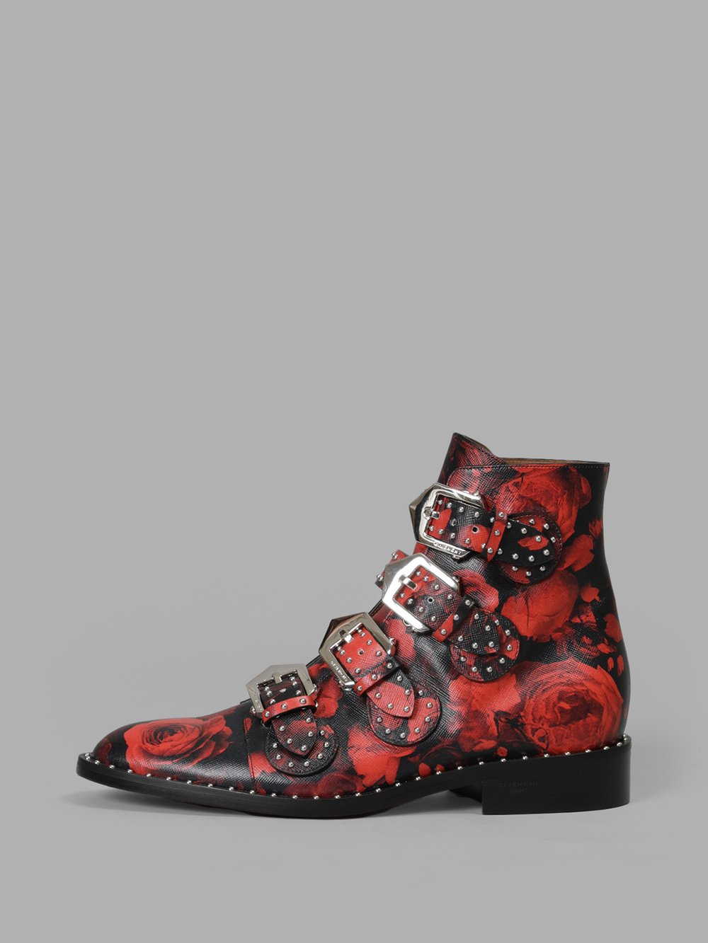 Studded Rose Ankle Booties in Red Roses Pattern