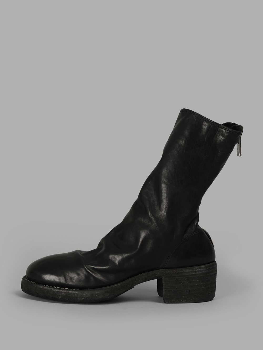 Pl9 Front Zip Leather Boots, Black
