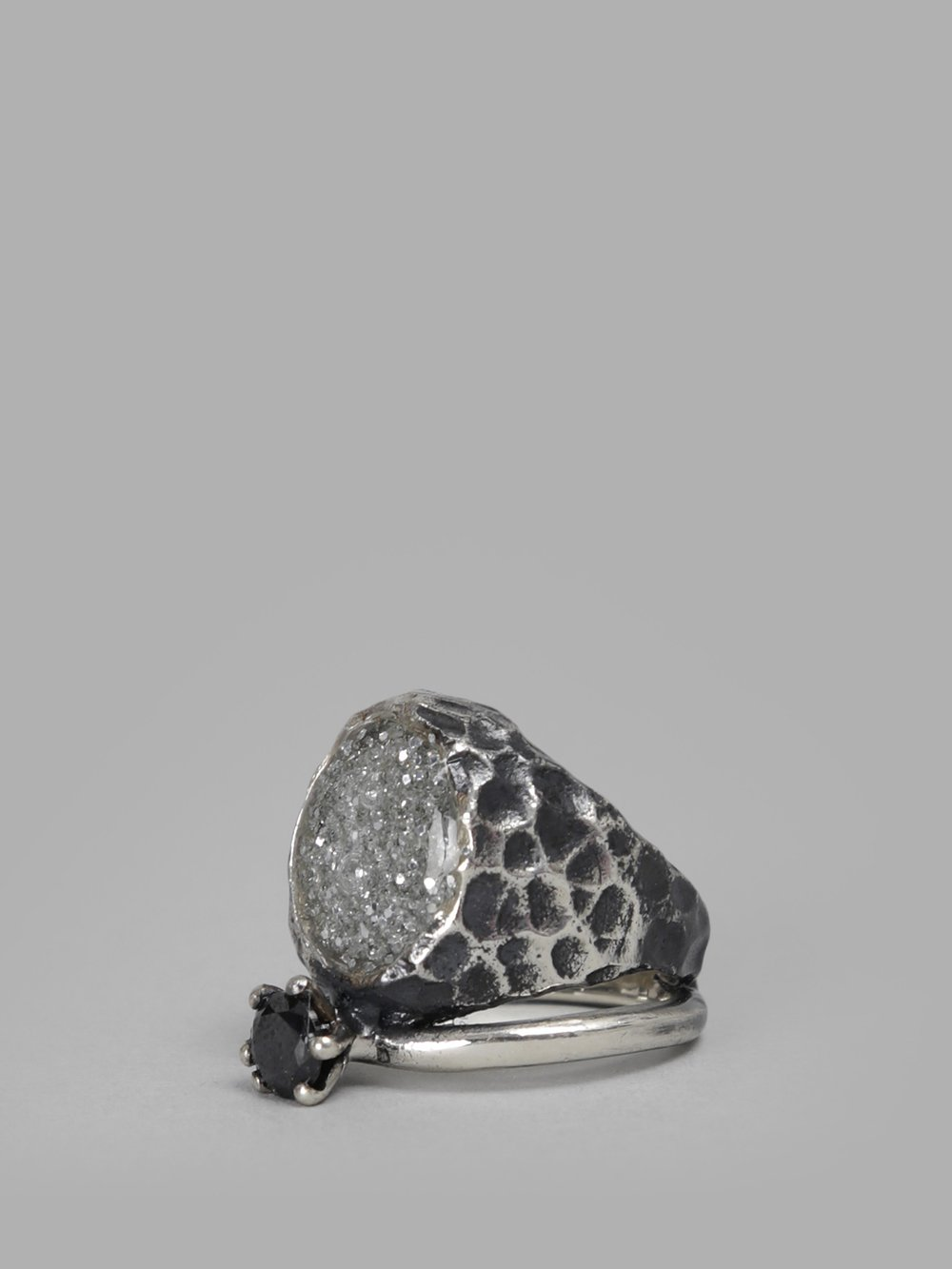 VOODOO JEWELS WOMEN'S SILVER SIGILLIUM RING WITH BLACK STONE