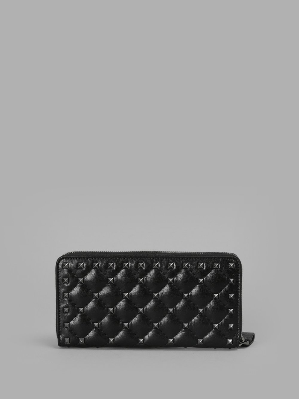 VALENTINO WOMEN'S BLACK MATELASSE' FRENCH WALLET WITH SPIKE ROCKSTUDS