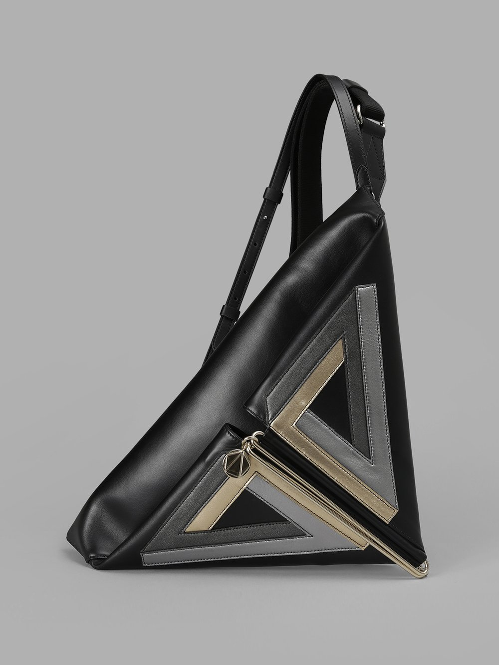 SIMONE RAINER BLACK TRIANGLE BAG WITH METAL DETAILS