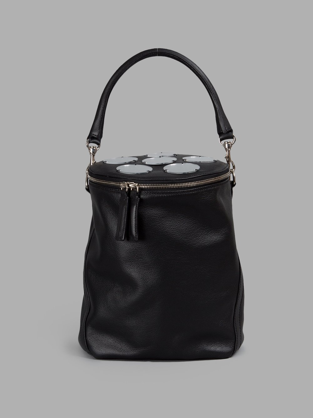 ANDREA INCONTRI WOMEN'S BLACK CYLINDRICAL BAG WITH MIRROR DETAILS