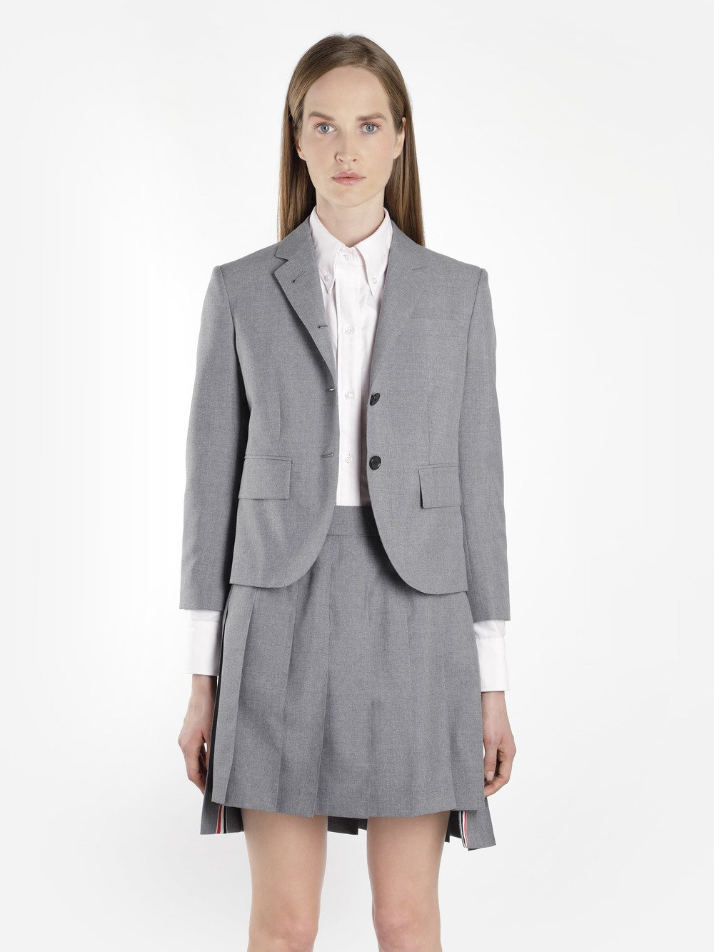 Classic Breasted Sport Coat In School Uniform Plain Wool Blazer in Grey