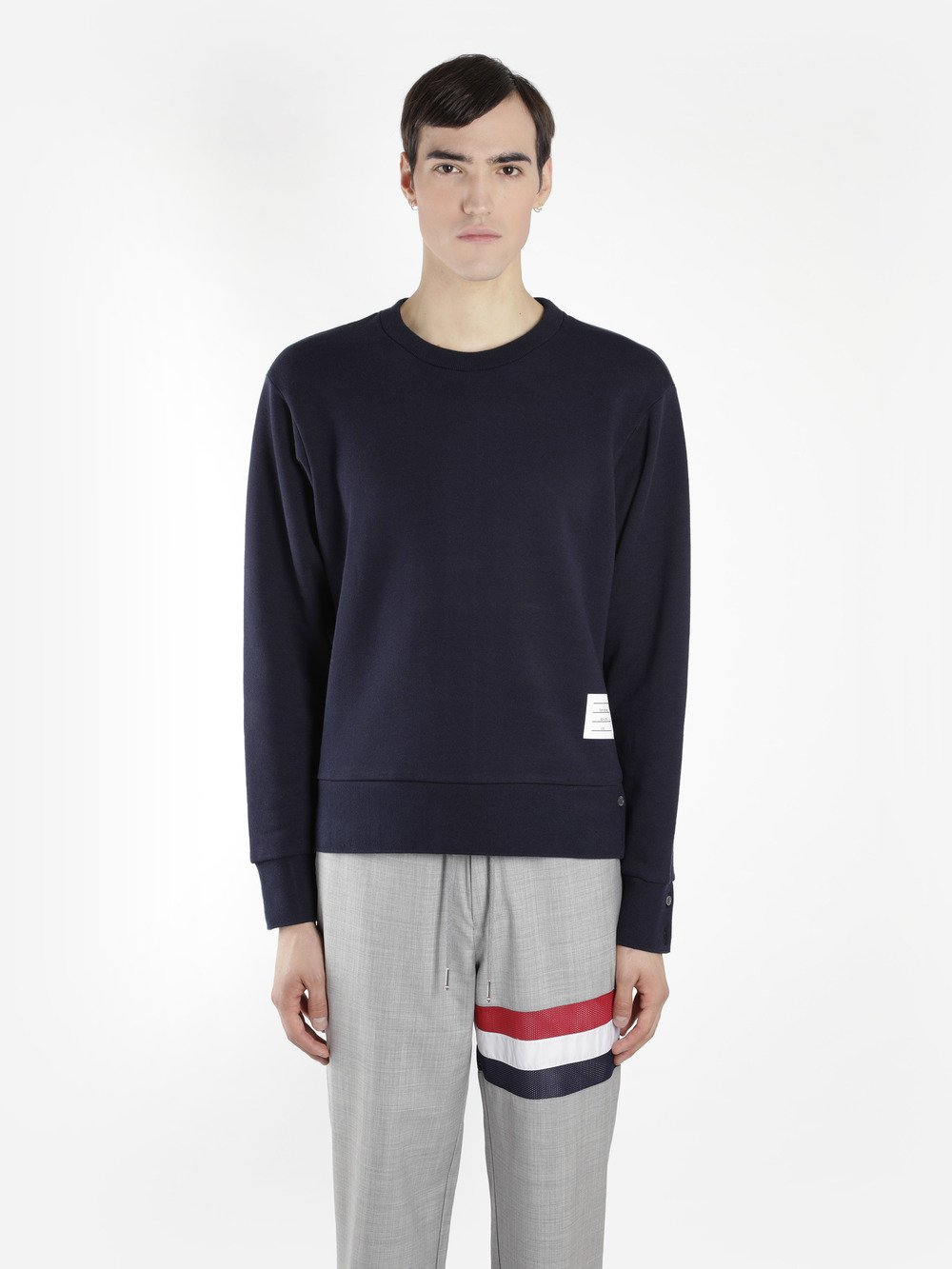 THOM BROWNE Stripe-Trimmed Loopback Cotton-Jersey Sweatshirt, Blue
