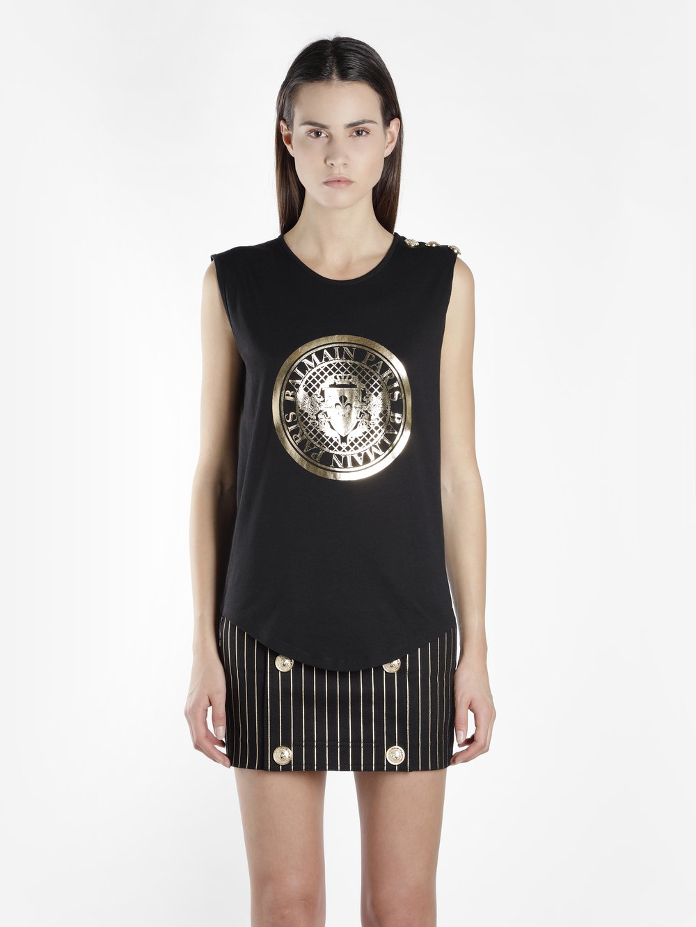 Glitter-Embellished Logo-Print Cotton Tank Top in Black