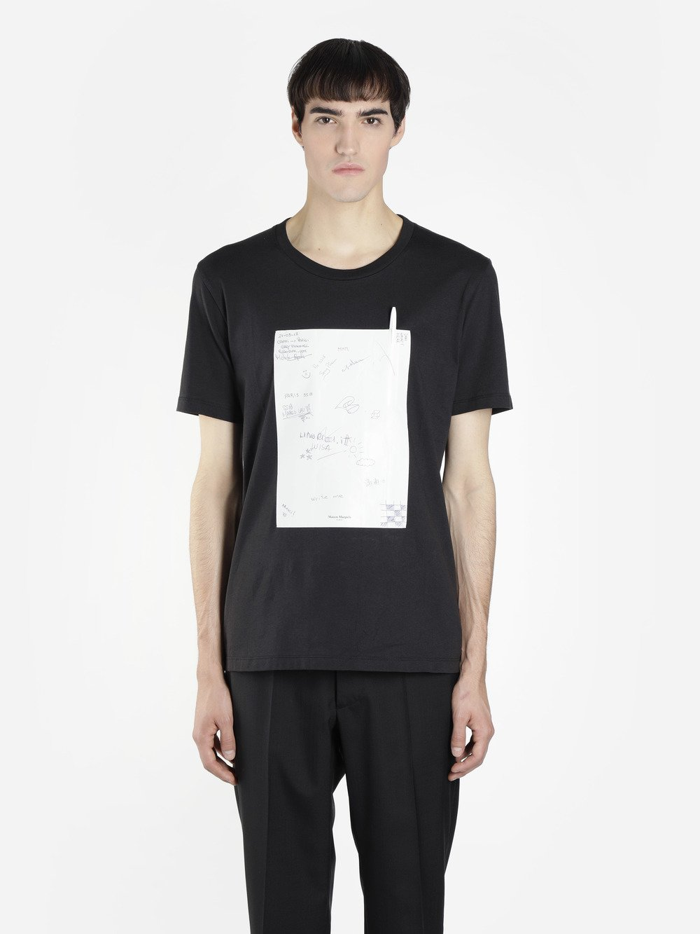 Shell-Panelled Cotton-Jersey T-Shirt in Black