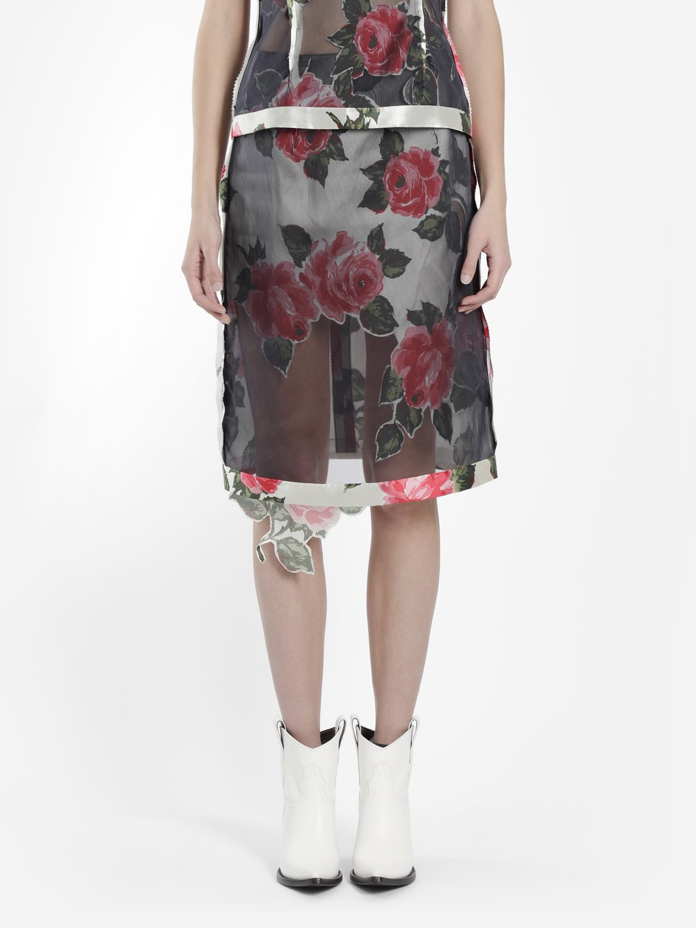 Maison Margiela Women'S Multicolor Organza Skirt With Roses Printed