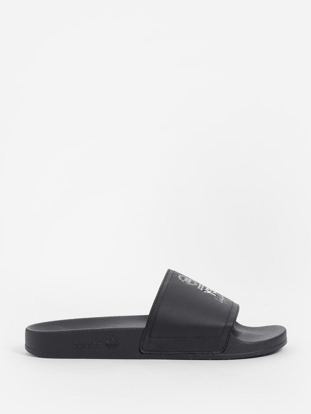 ADILETTE BLACK RUBBER AND SYNTHETIC LEATHER SLIPPER