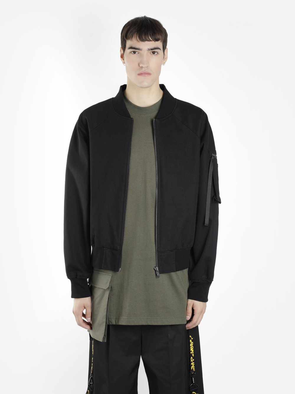 D BY D BLACK BOMBER JACKET WITH BACK YELLOW ZIP