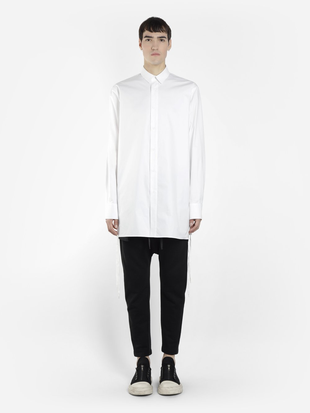 D BY D MEN'S WHITE LONG SHIRT WITH LATERAL STRINGS