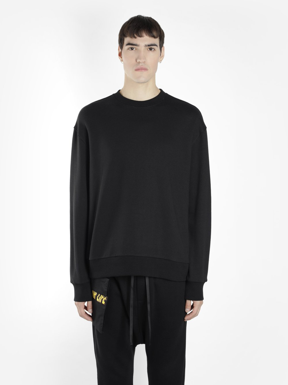 D BY D MEN'S BLACK CREWNECK SWEATER WITH BACK LACING
