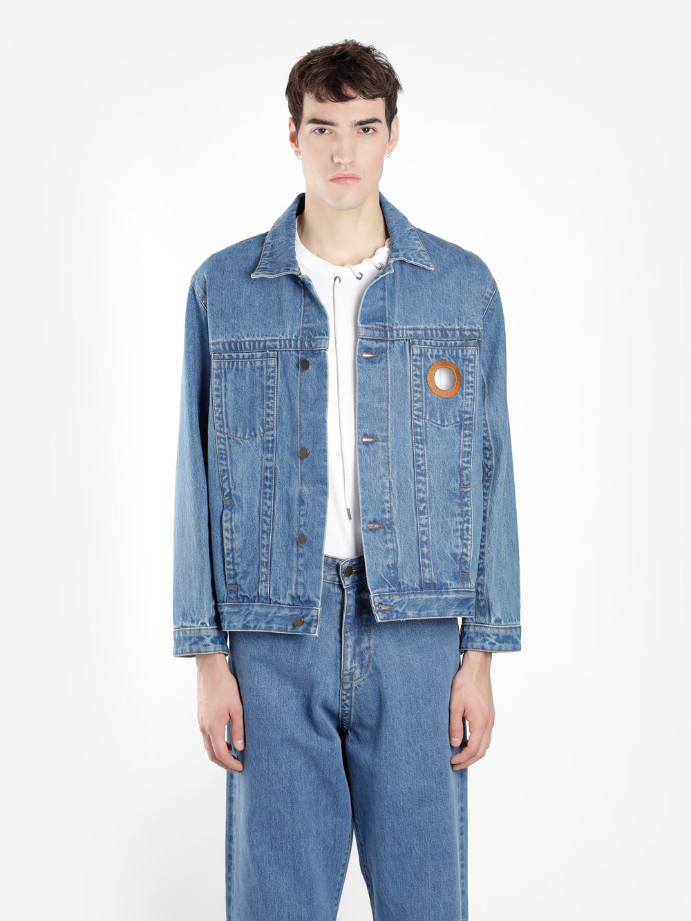 CRAIG GREEN Embroidered Denim Trucker Jacket in Blue