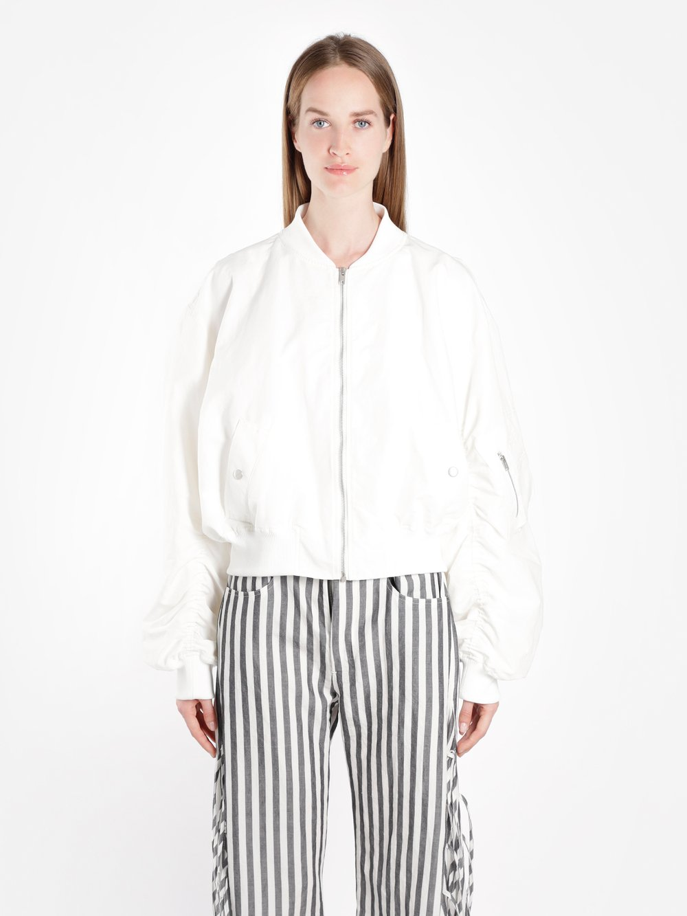 Damir Doma Women'S White Zipped Bomber Jacket