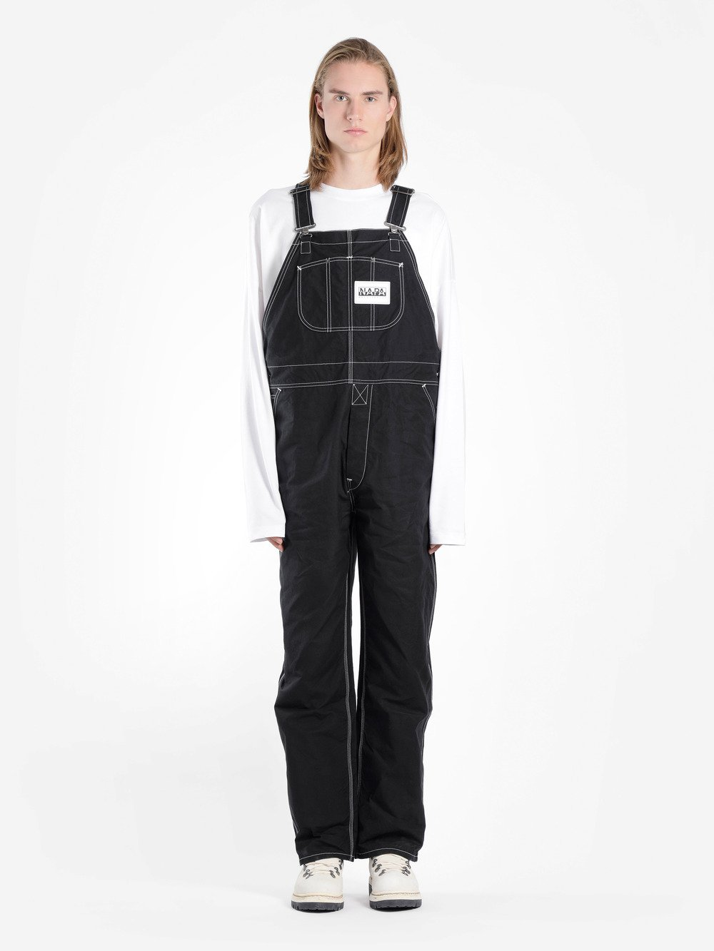NAPA BY MARTINE ROSE BLACK COTTON DUNGAREES WITH CONTRAST STITCHING