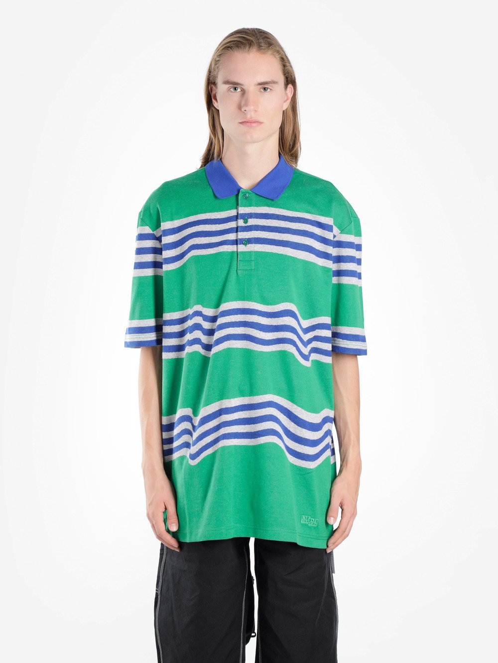 NAPA BY MARTINE ROSE EGO STRIPED COTTON OVERSIZED POLO SHIRT