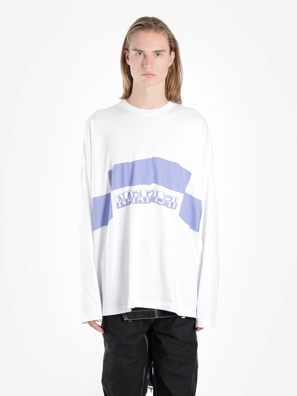 NAPA BY MARTINE ROSE WHITE AND BLUE LONG SLEEVE SIRI T-SHIRT