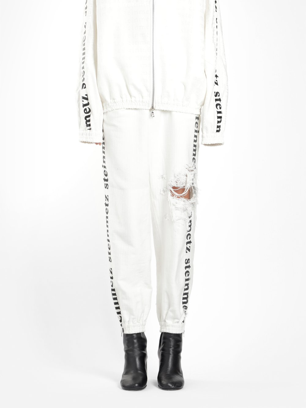 FAUSTINE STEINMETZ WOMEN'S OFF WHITE DESTROYED LOGO SWEATPANTS