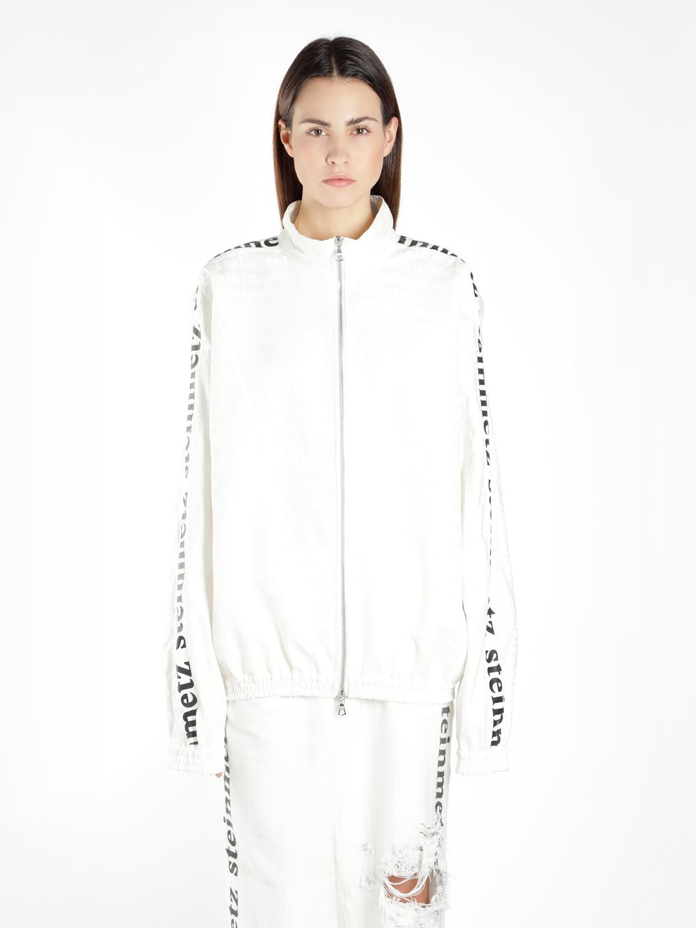 FAUSTINE STEINMETZ WOMEN'S OFF WHITE LOGO TRACK SWEATER