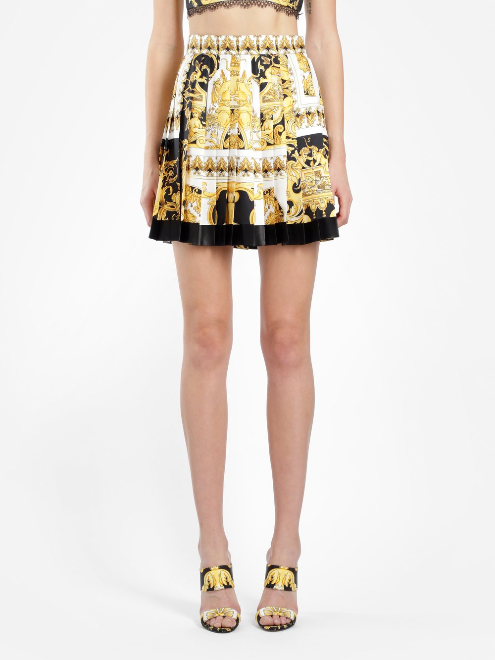 Pleated Printed Silk Twill Mini Skirt in White from Antonioli
