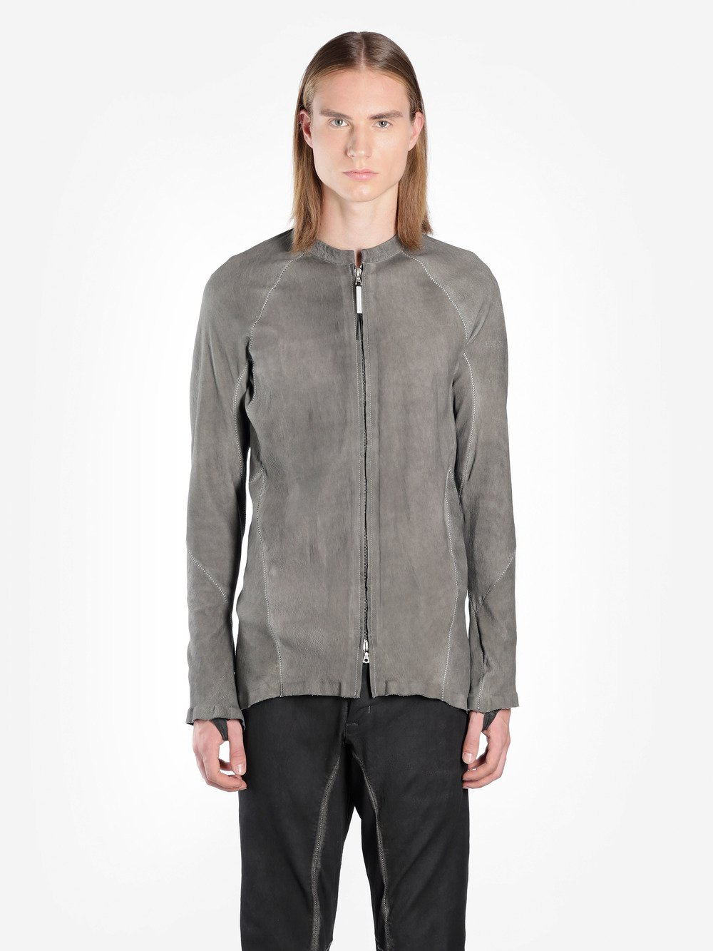 ISAAC SELLAM MEN'S GREY LEATHER JACKET