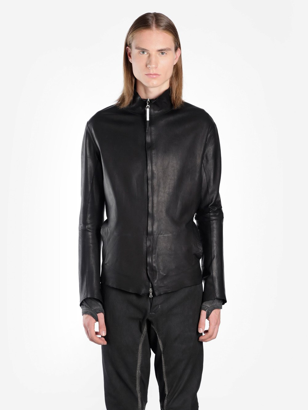 ISAAC SELLAM MEN'S BLACK LEATHER JACKET WITH BACK METAL DETAIL