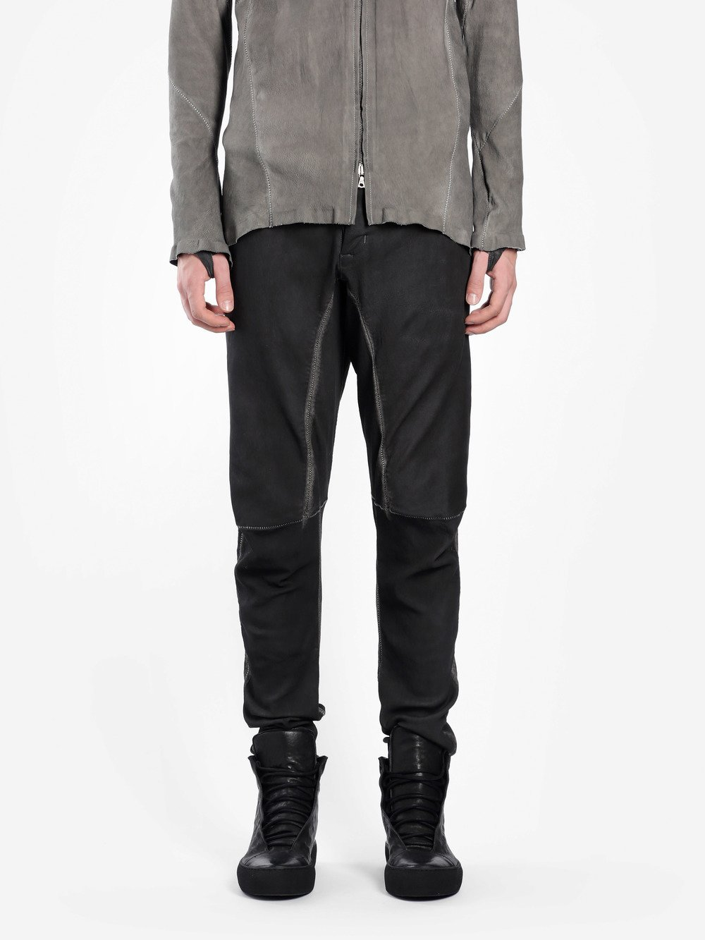 ISAAC SELLAM MEN'S BLACK LEATHER TROUSERS