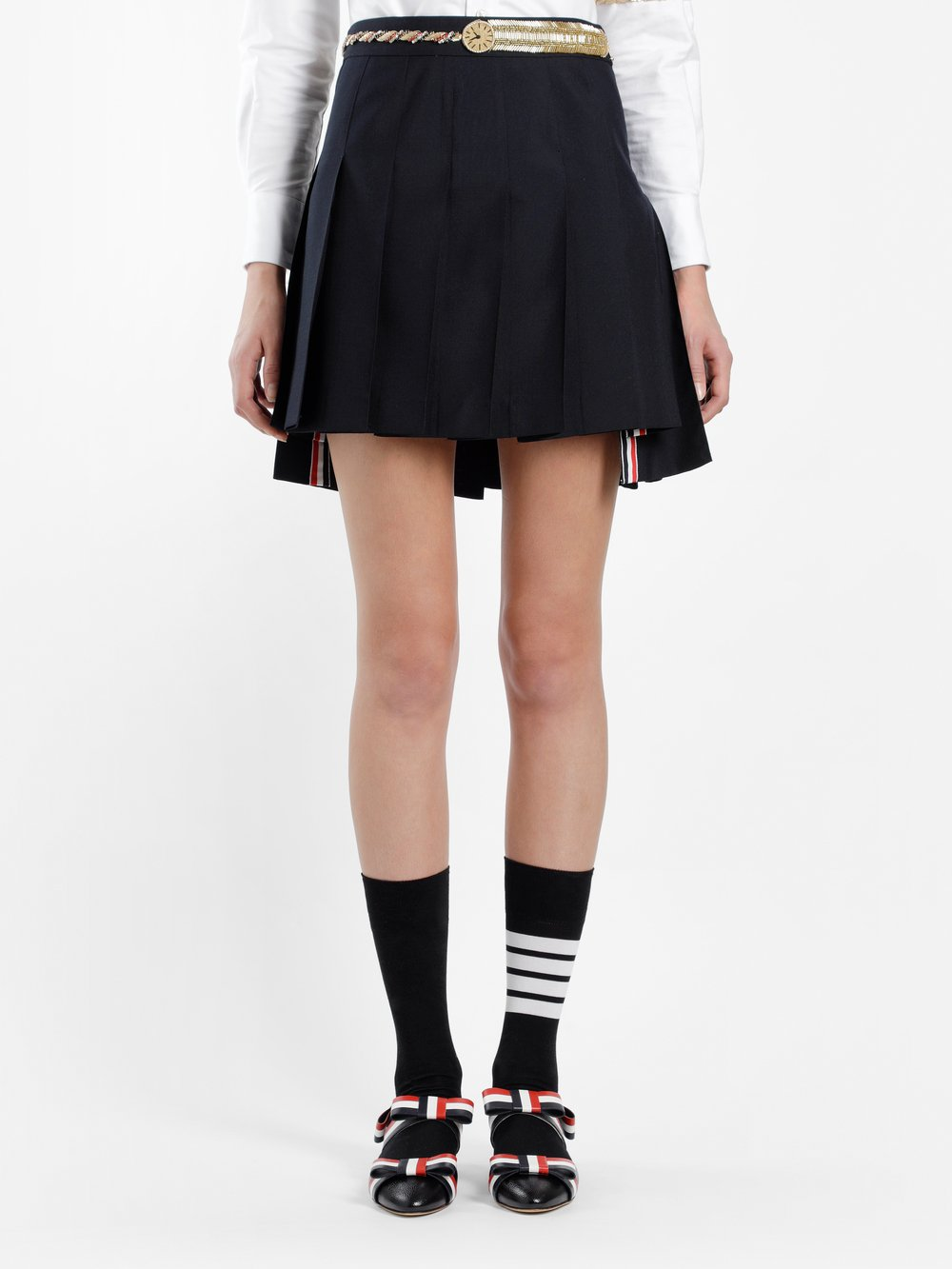 THOM BROWNE WOMEN'S BLUE MINI PLEATED SKIRT WITH BELT APPLIQUE