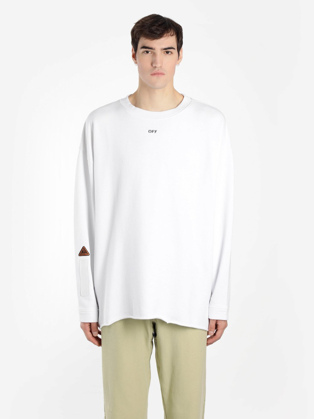 OFF WHITE C/O VIRGIL ABLOH MEN'S WHITE CREWNECK SWEATER WITH LATERAL TAPE EMBROIDERIES