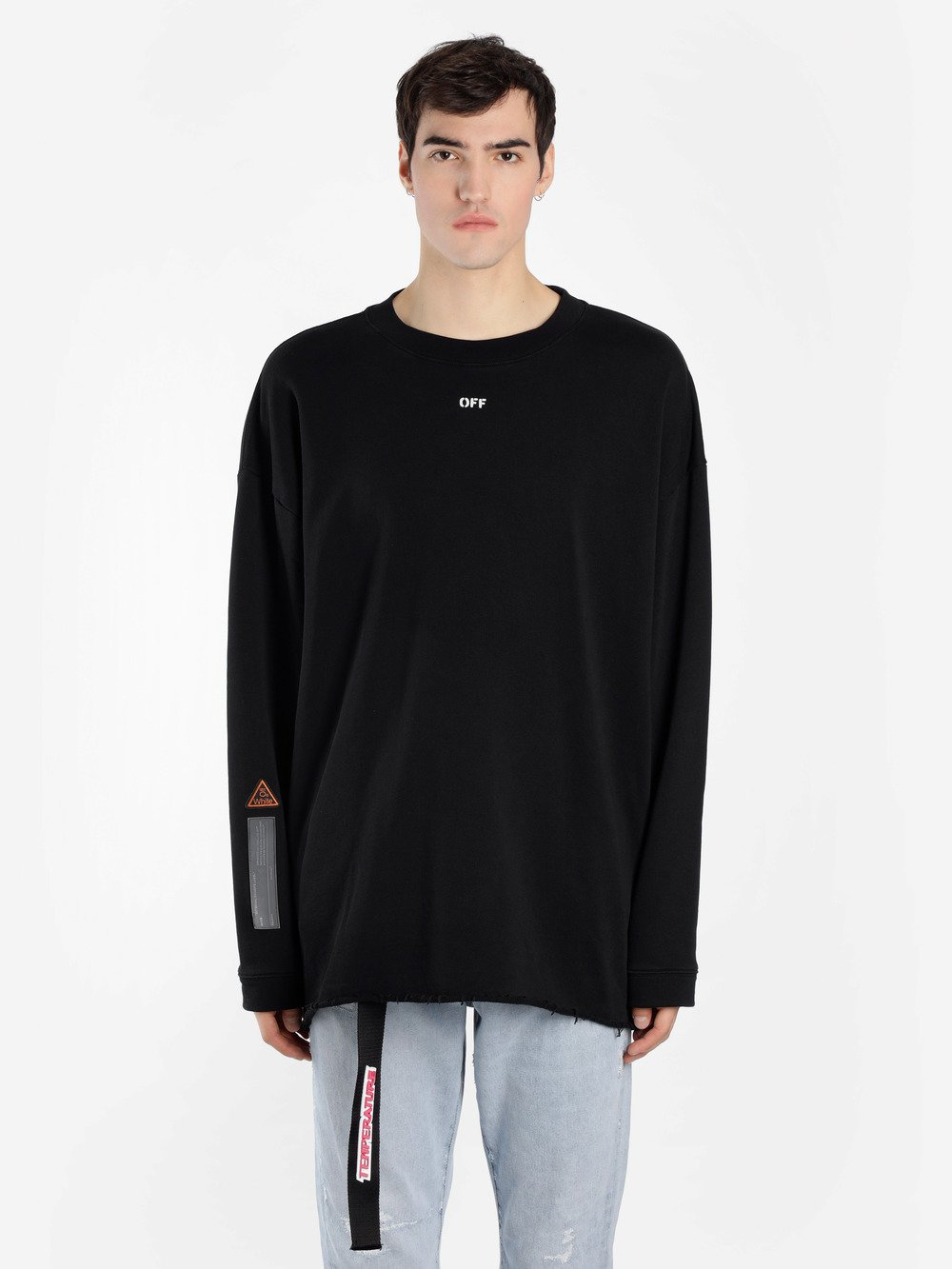 OFF WHITE C/O VIRGIL ABLOH MEN'S BLACK CREWNECK SWEATER WITH LATERAL TAPE EMBROIDERIES