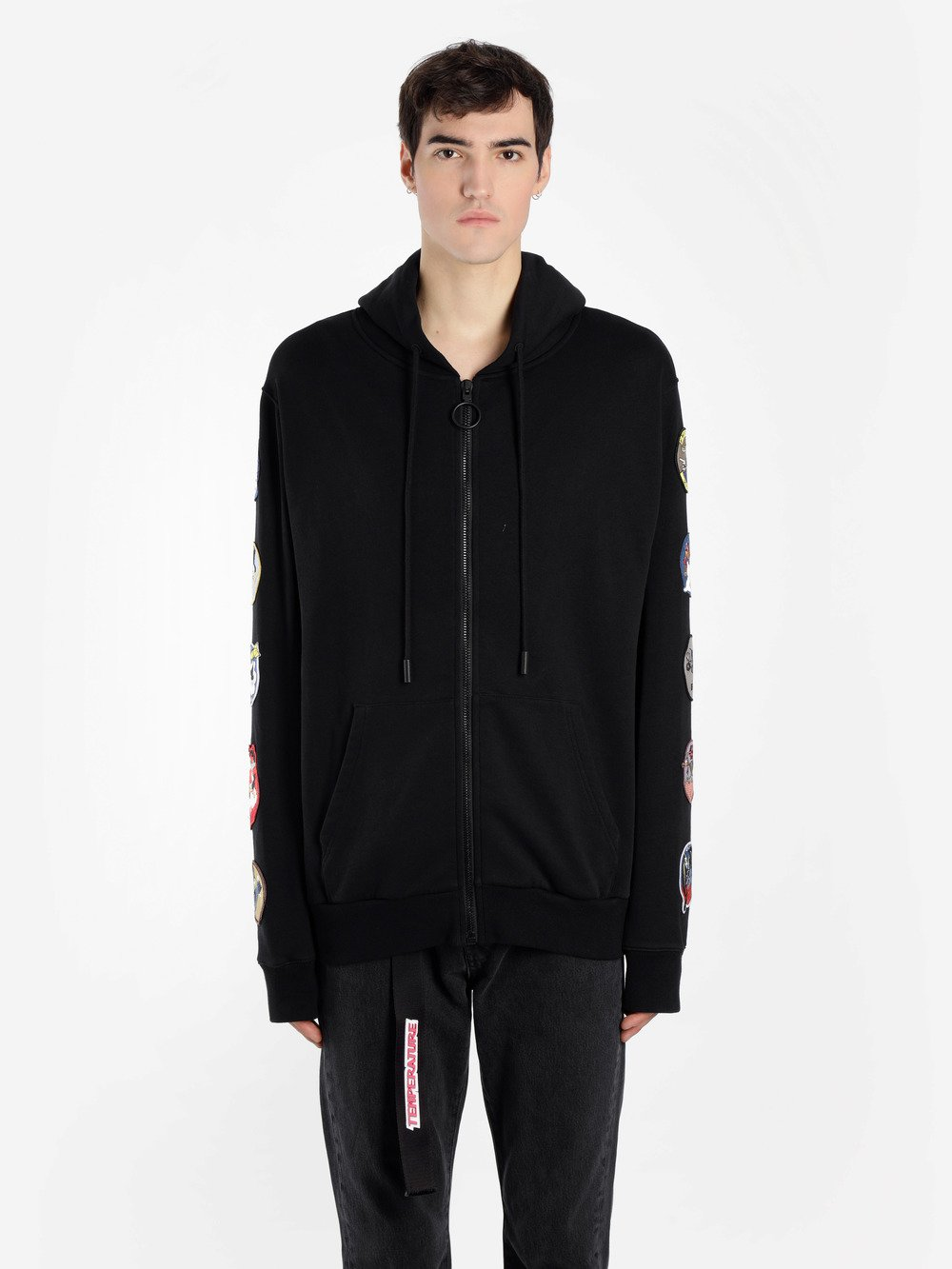 OFF WHITE C/O VIRGIL ABLOH MEN'S BLACK ZIPPED HOODIE WITH PATCHES