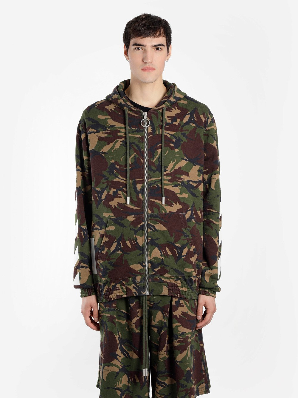 OFF WHITE C/O VIRGIL ABLOH MEN'S GREEN CAMOUFLAGE DIAG ZIPPED HOODIE