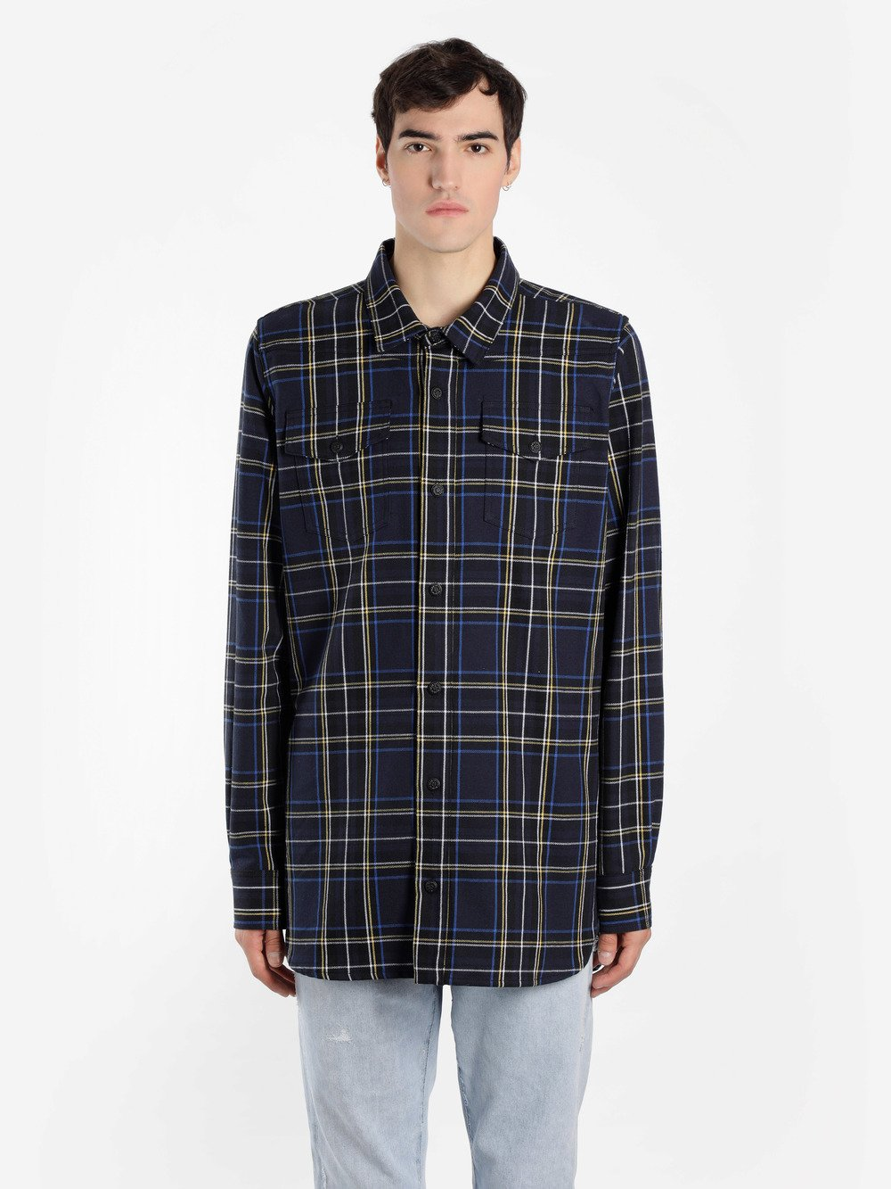 OFF WHITE C/O VIRGIL ABLOH MEN'S BLUE CHECKED SHIRT WITH ARROWS