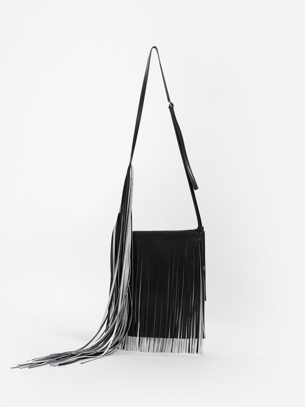 Calvin Klein 205w39nyc Crossbody CALVIN KLEIN 205W39NYC BLACK CROSSBODY BAG WITH BLACK AND SILVER FRINGES