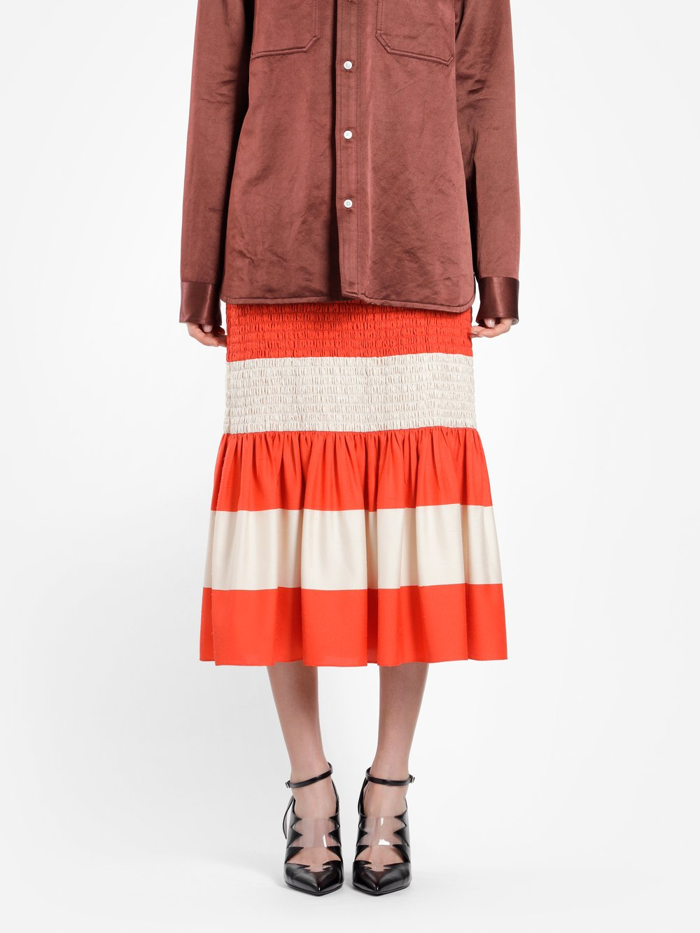 CALVIN KLEIN 205W39NYC WOMEN'S MULTICOLOR MID-CALF LENGHT STRIPED SKIRT