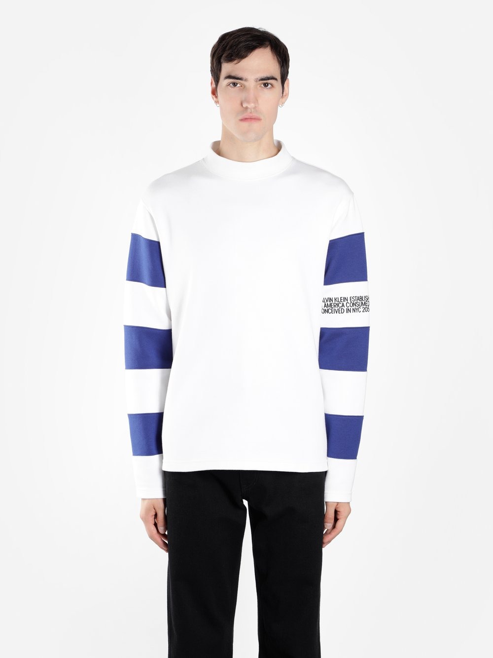 Cheap Buy Clearance Amazing Price Embroidered Striped Cotton-jersey Mock-neck Sweatshirt CALVIN KLEIN 205W39NYC Deals Sale Online sSCu9VrcBl