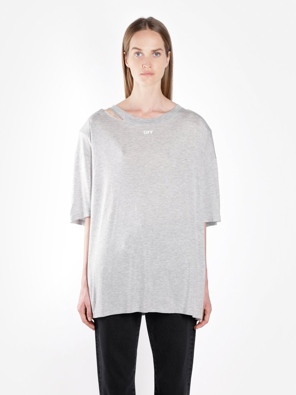 Off-White  OFF WHITE C/O VIRGIL ABLOH WOMEN'S GREY OFF SHOULDER PADS TEE