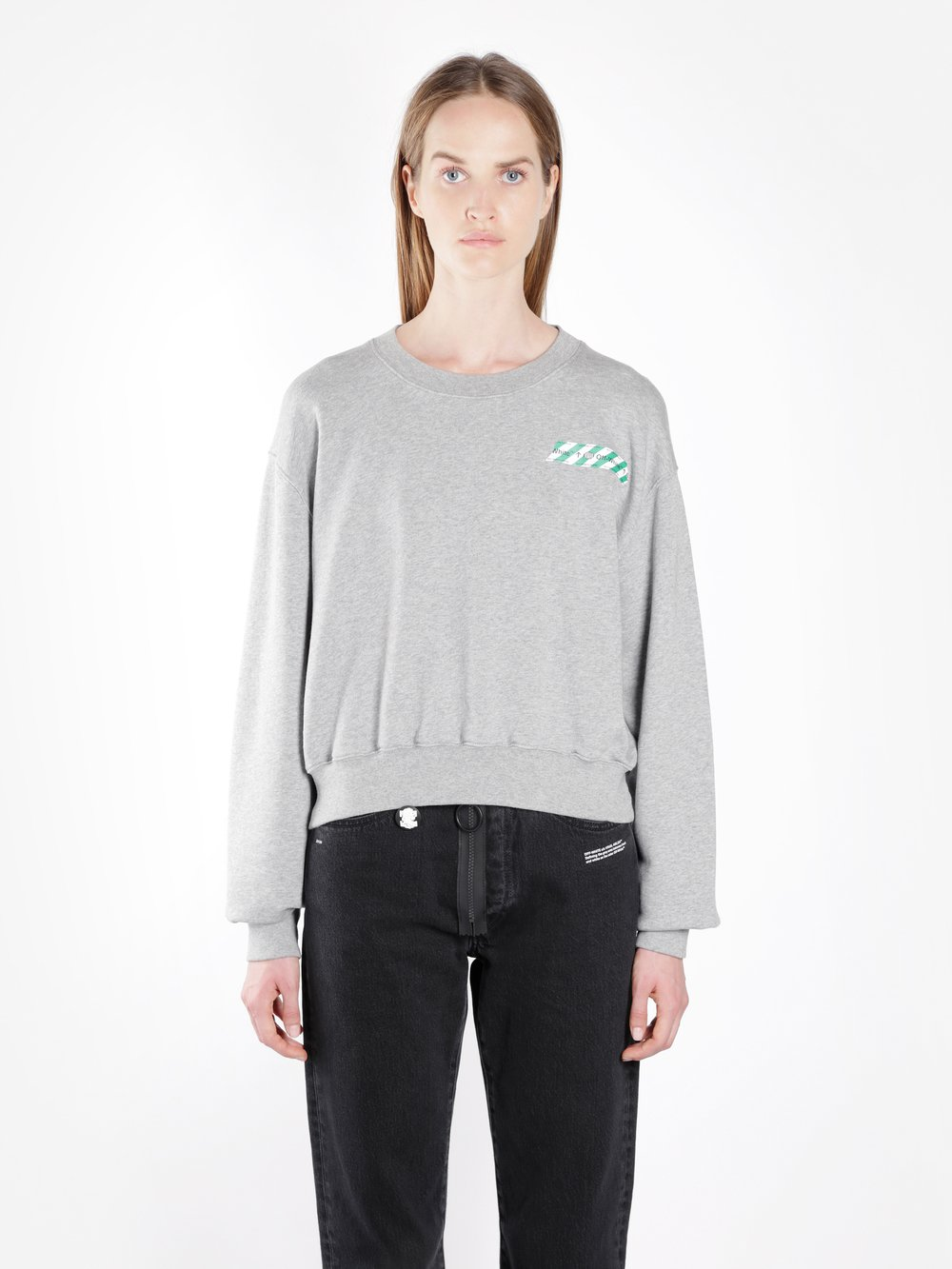 OFF WHITE C/O VIRGIL ABLOH WOMEN'S GREY TAPE CROPPED SWEATER