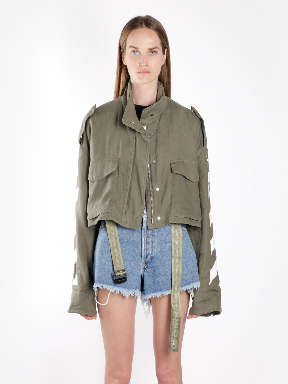 Off White C/O Virgil Abloh Women'S Military Green Diag Cropped Jacket