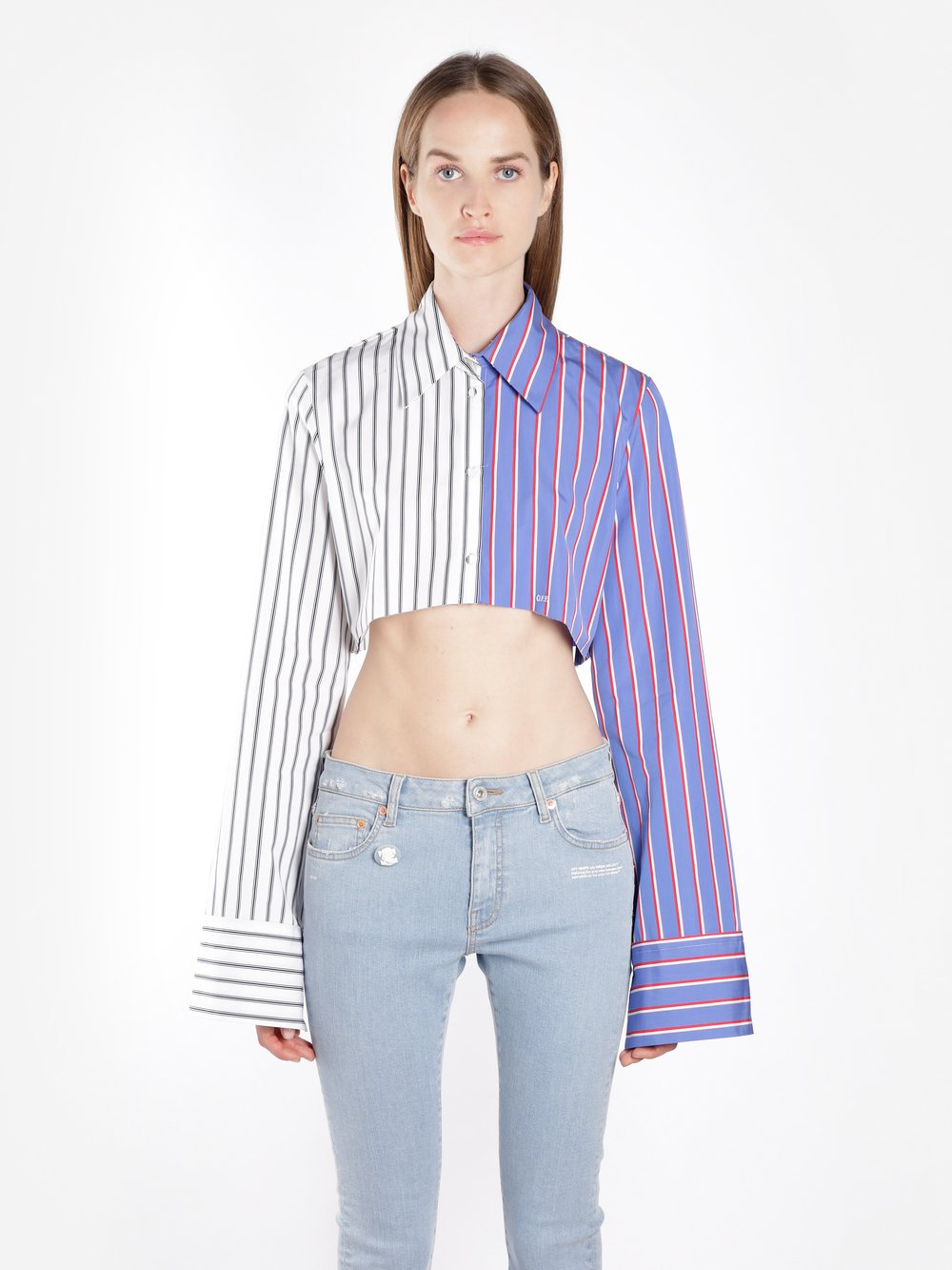 OFF WHITE C/O VIRGIL ABLOH WOMEN'S MULTICOLOR STRIPED CROPPED SHIRT