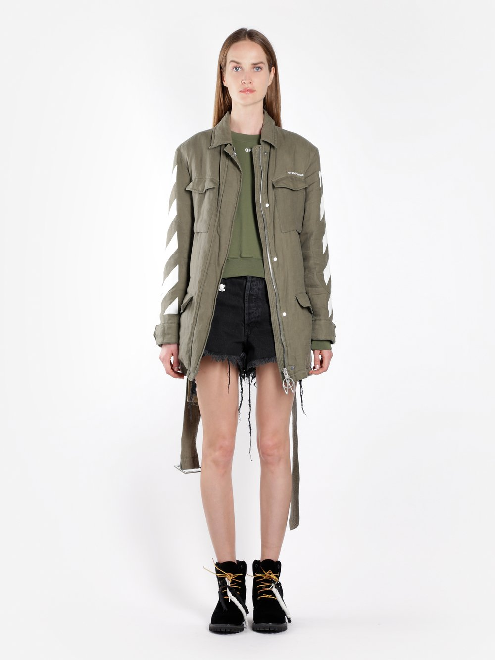 Off White C/O Virgil Abloh Women'S Military Green Diag Field Jacket