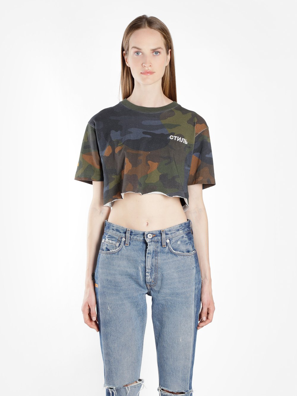 HERON PRESTON WOMEN'S GREEN CTNMB CAMO CROP T-SHIRT