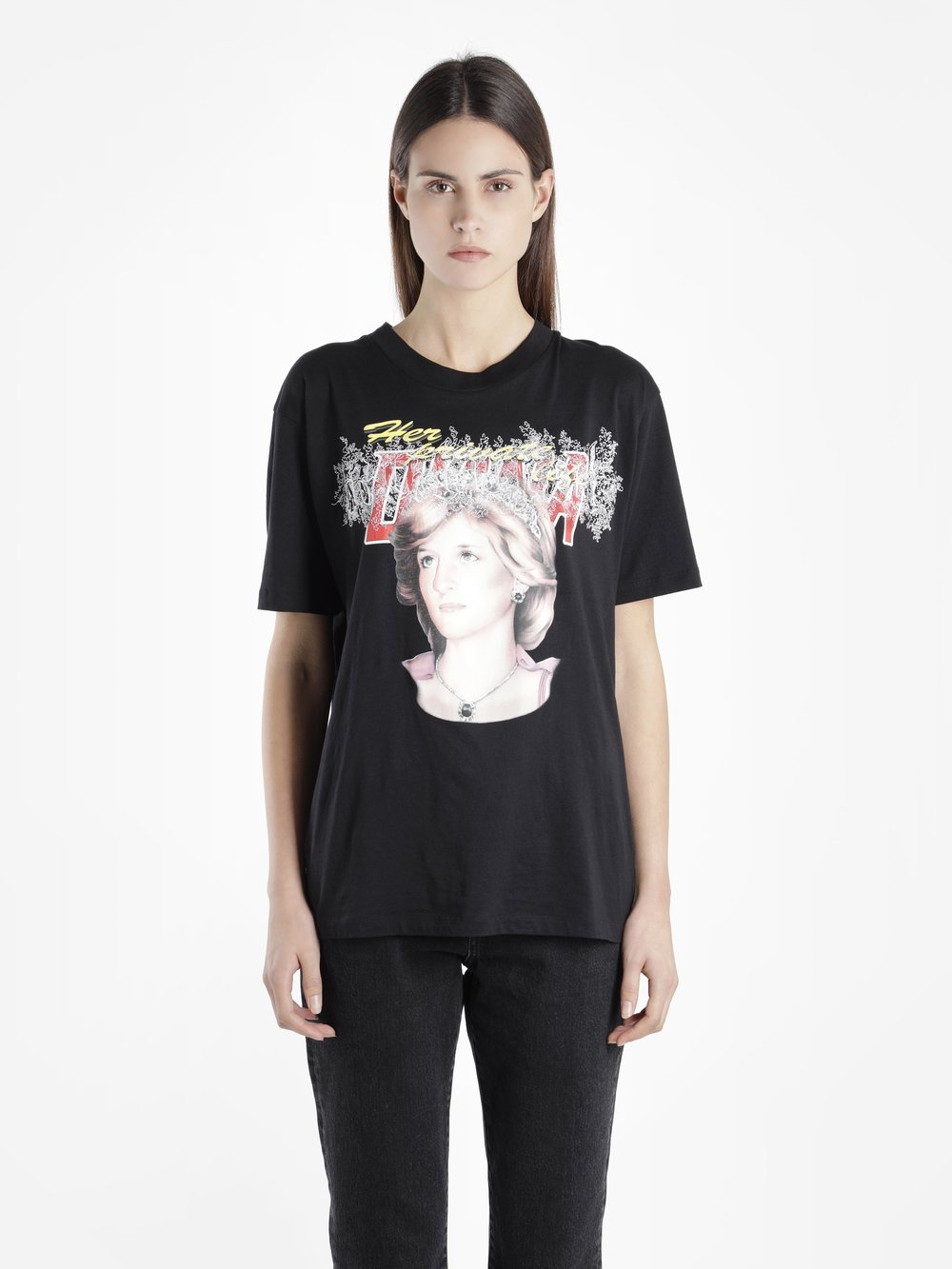 Off White C/O Virgil Abloh Women'S Black Lady D. Tribute 2 New Oversize Tee