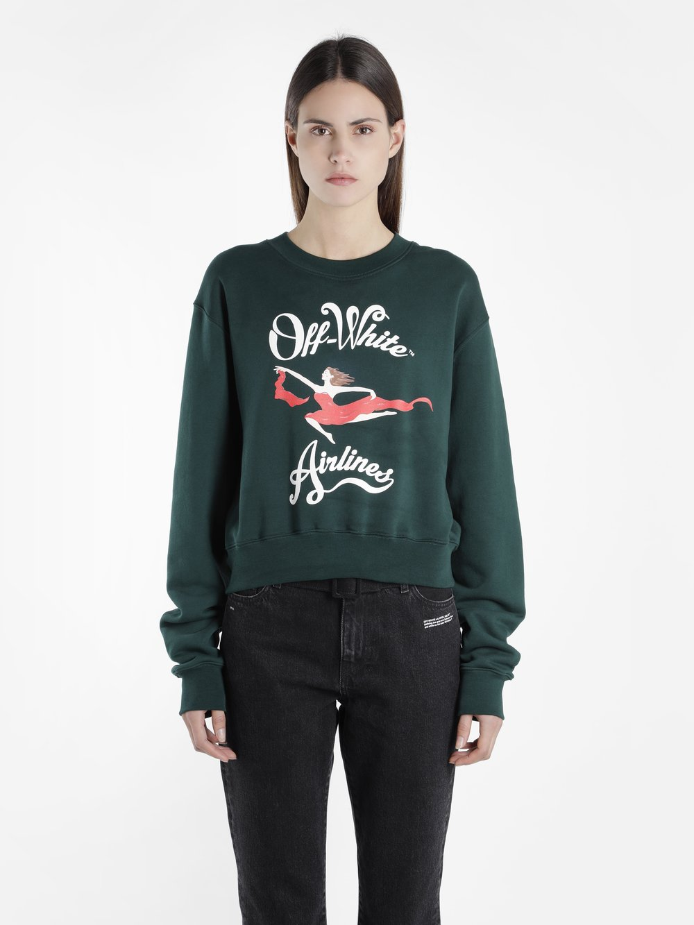 OFF WHITE C/O VIRGIL ABLOH WOMEN'S GREEN OFF AIRLINES CREWNECK SWEATER