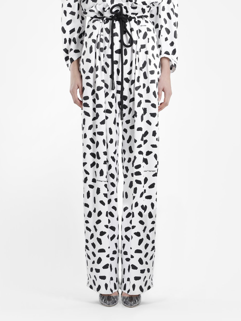 Off White C/O Virgil Abloh Women'S Bolack And White Logo Pattern Coulisse Pants