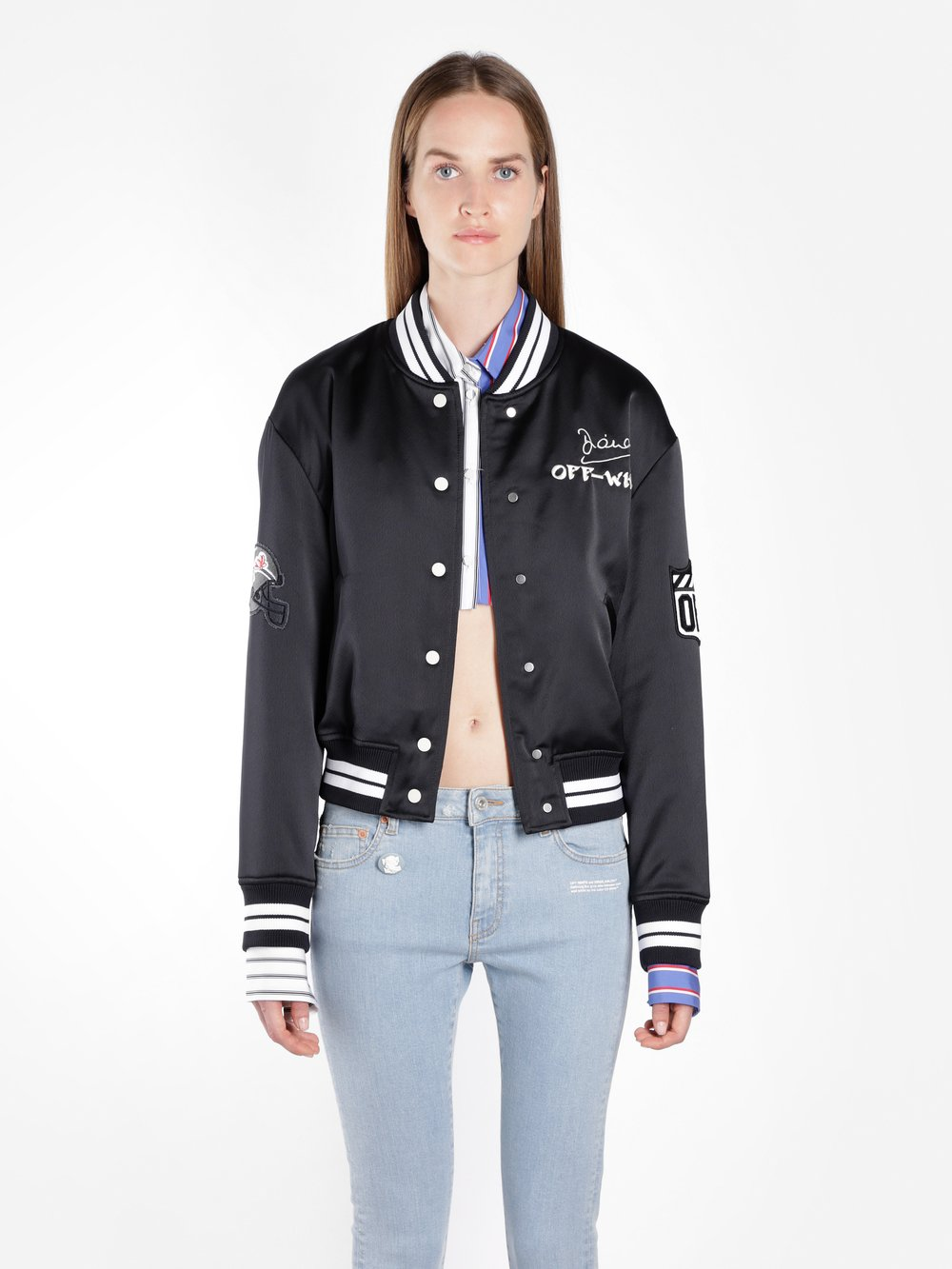 Off White Embroidered Satin Varsity Bomber, Nero