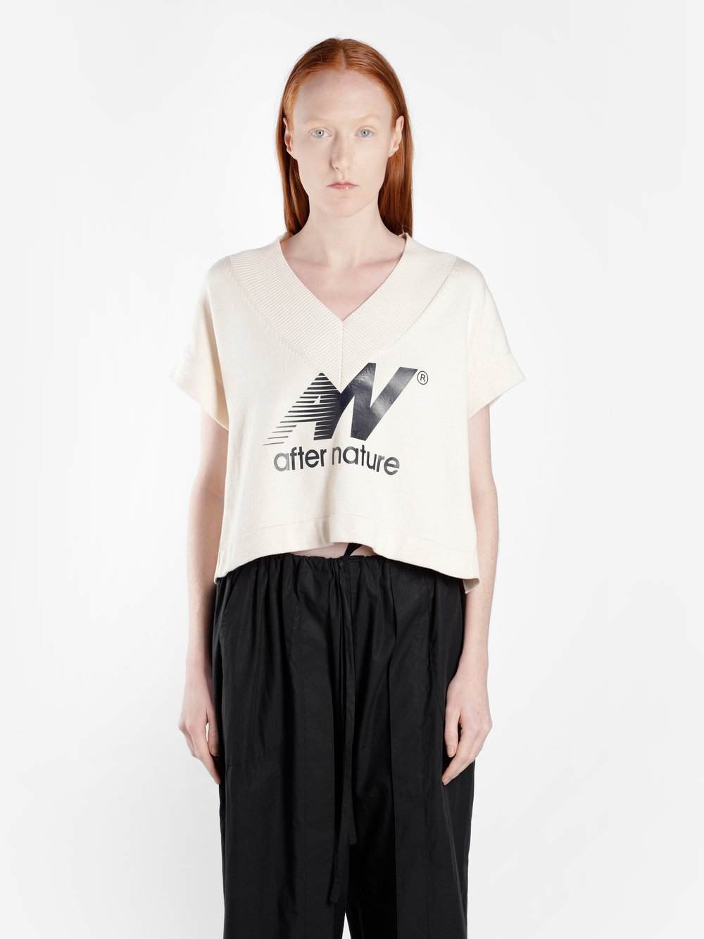 AALTO After Nature Print Cotton Crop Top in Runway Piece