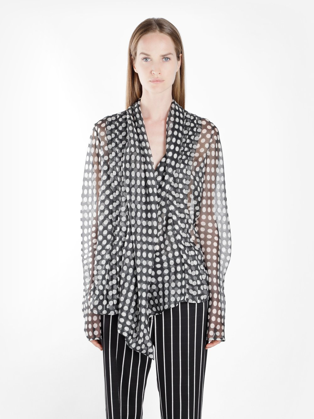 Pleated Polka-dot Silk-chiffon Wrap Blouse - Black Haider Ackermann Cheap Shop Discount Best Place J1vJ67