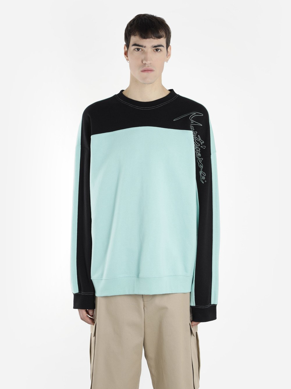 MARTINE ROSE Logo-Embroidered Cotton Sweater in Green