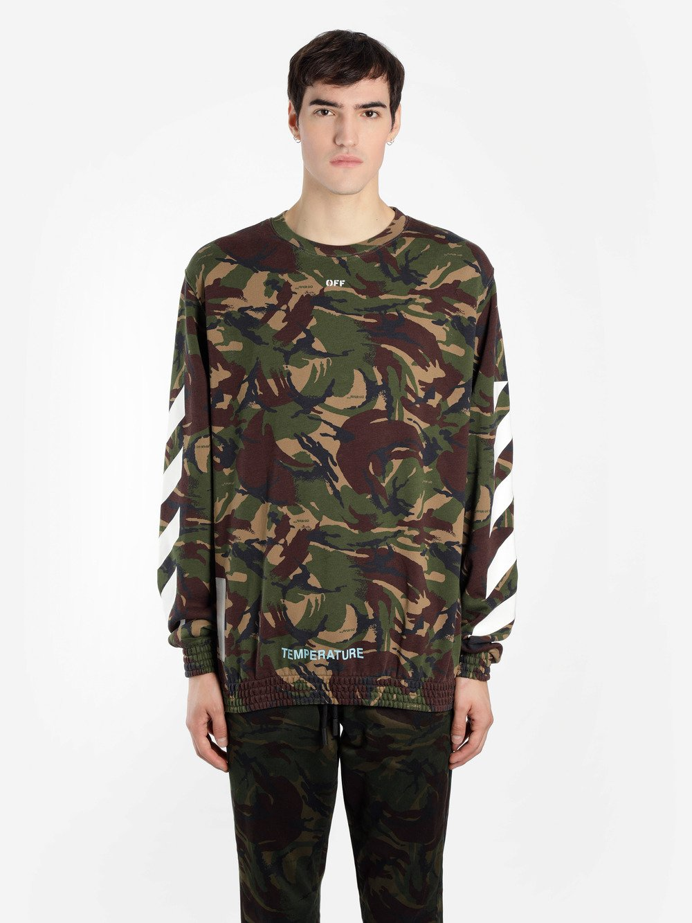 Off White Off White Co Virgil Abloh Mens Green Camouflage Crewneck