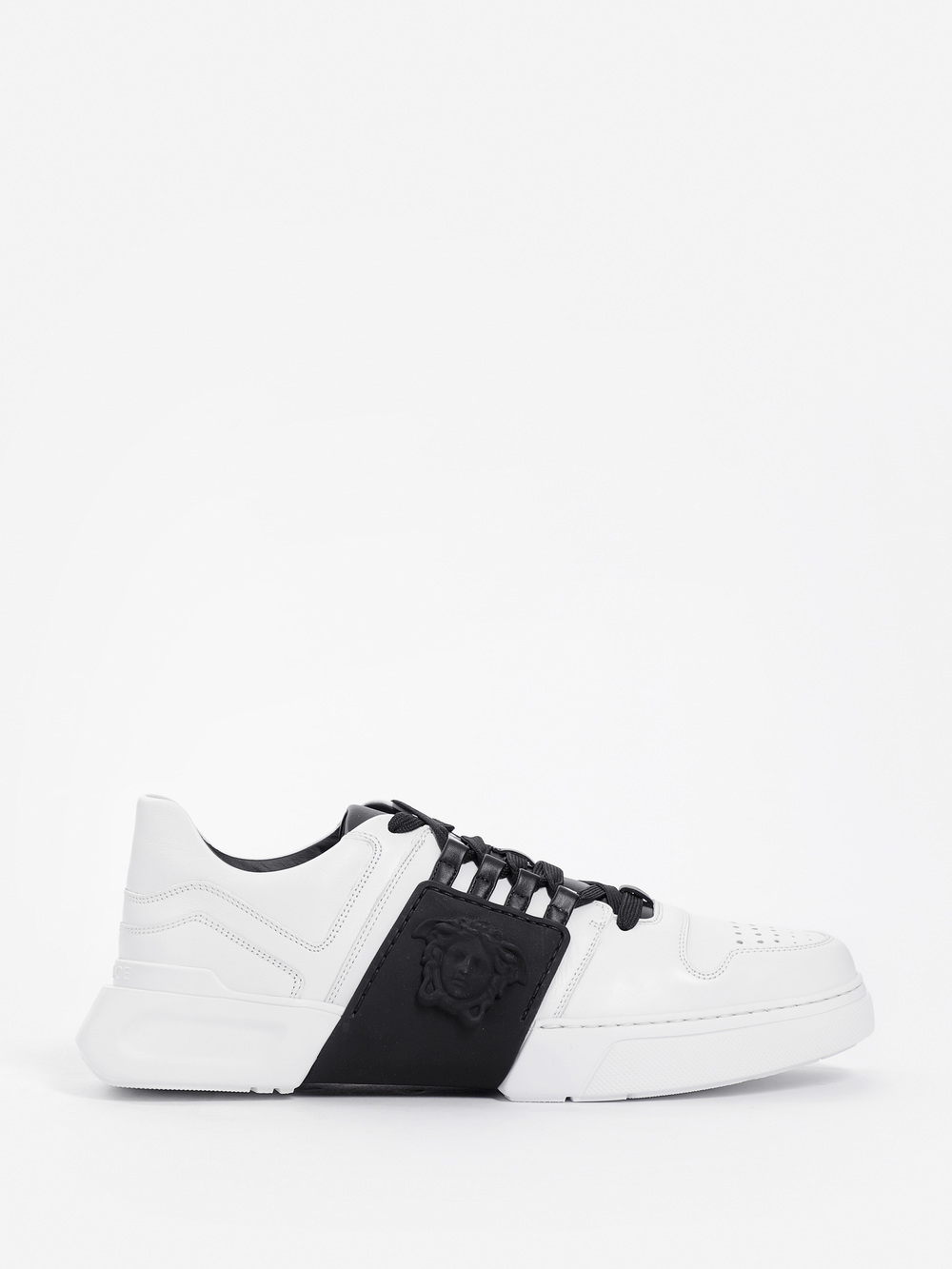 Bicolor Laced Sneakers In Leather, Runway Piece